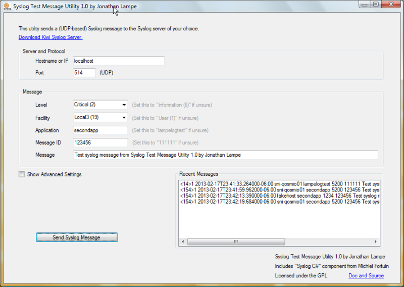 Syslog test message utility - send UDP messages to any syslog server